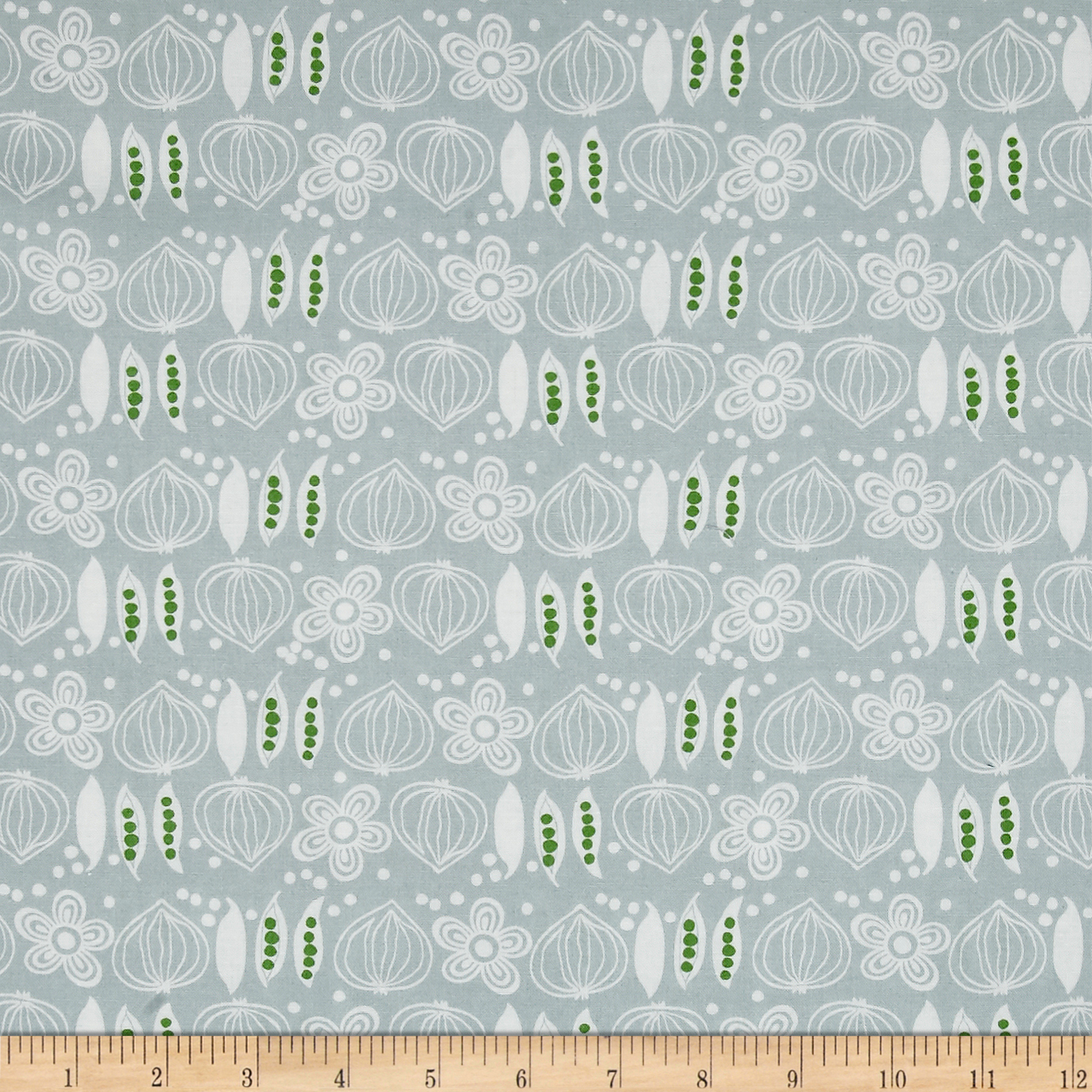 Image of Cucina Onions And Peas Grey Fabric