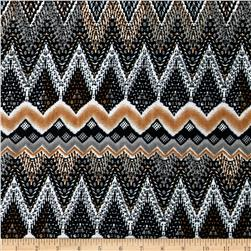 Stretch ITY Jersey Abstract Chevron Grey/Black