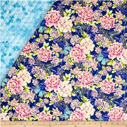 Flights Of Fancy Double Sided Quilted Oriental Flower Blue