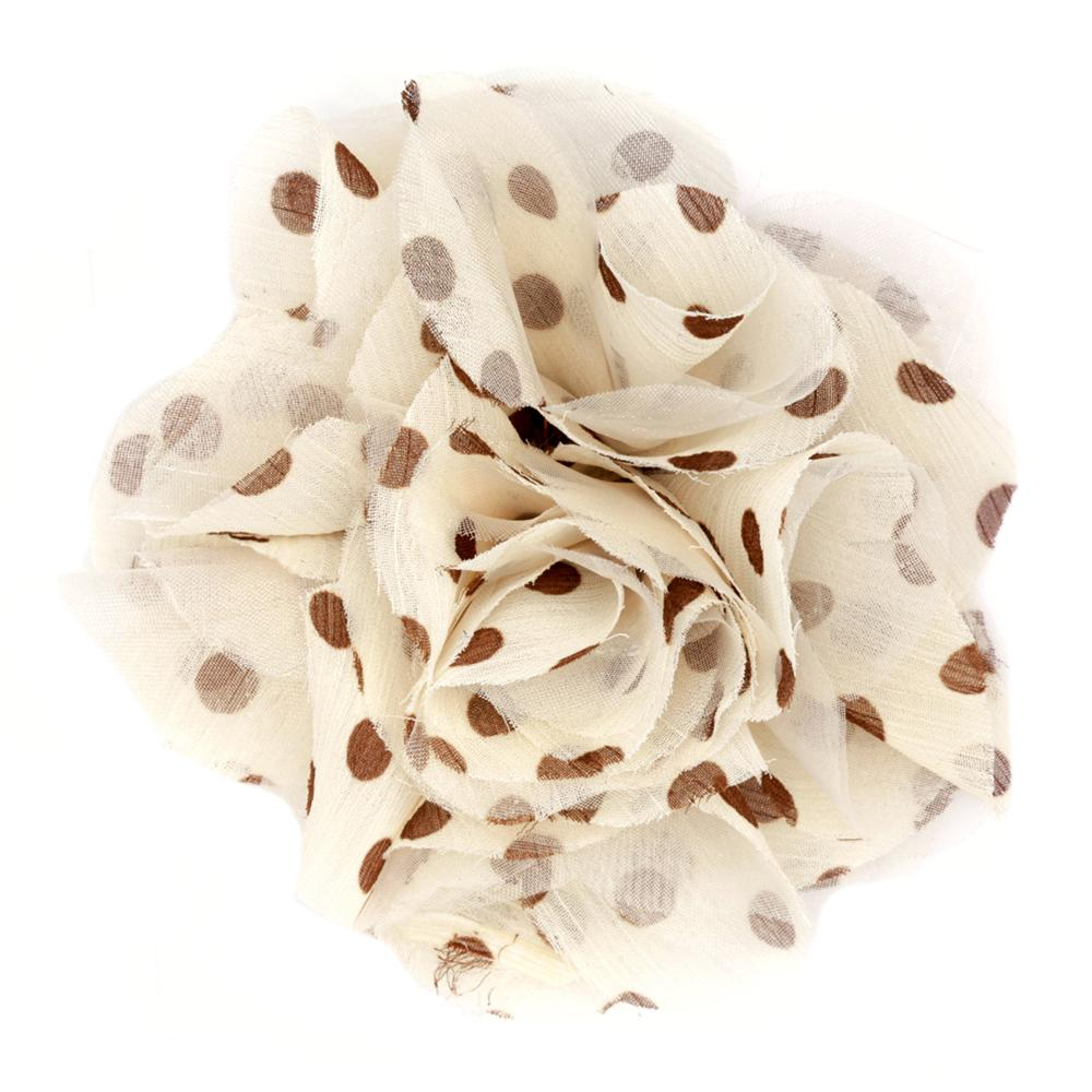 Capri Polka Dot 4 1/2'' Brooch Beige/Brown