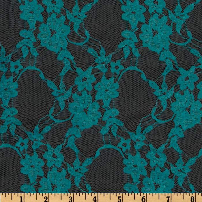 Giselle Stretch Floral Lace Light Teal
