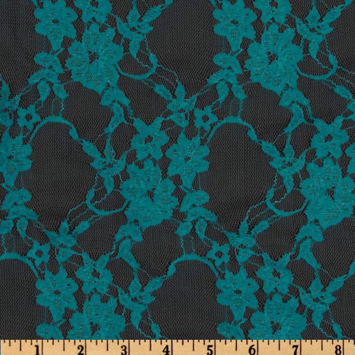 Giselle Stretch Floral Lace Light Teal Fabric