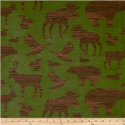 Timber Lodge Flannel Forest Animals Nature Green