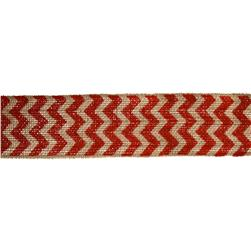 "2 3/8"" Burlap Trim Chevron Red"