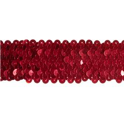 1 1/2'' Stretch Metallic Sequin Trim Red