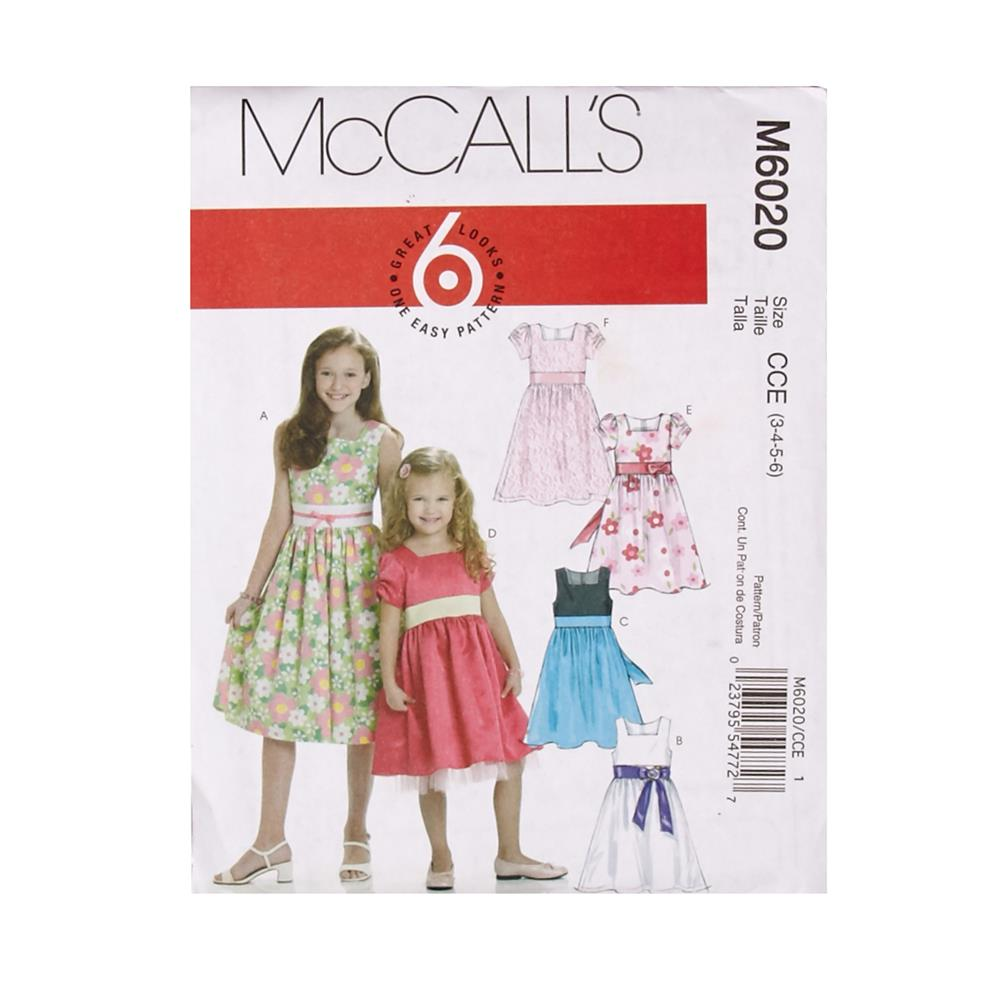 McCall's Children's/Girls' Lined Dresses Pattern M6020 Size CCE
