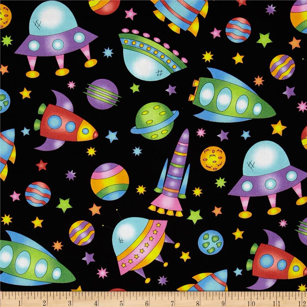 Welcome to my world space toss black discount designer for Space fleece fabric