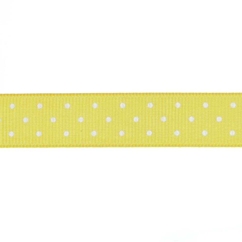 Riley Blake 5/8'' Grosgrain Ribbon Mini Dot Yellow