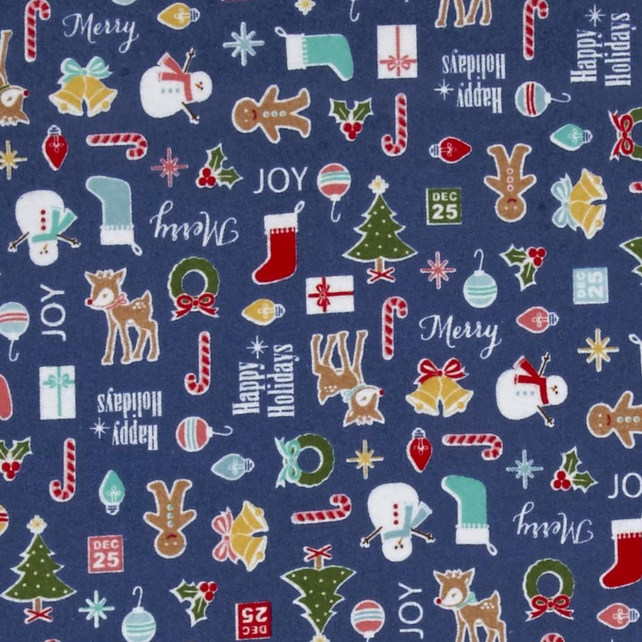 Riley Blake Cozy Christmas Flannel Main Navy Fabric