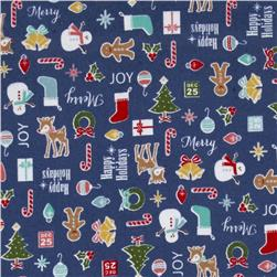 Riley Blake Cozy Christmas Flannel Main Navy