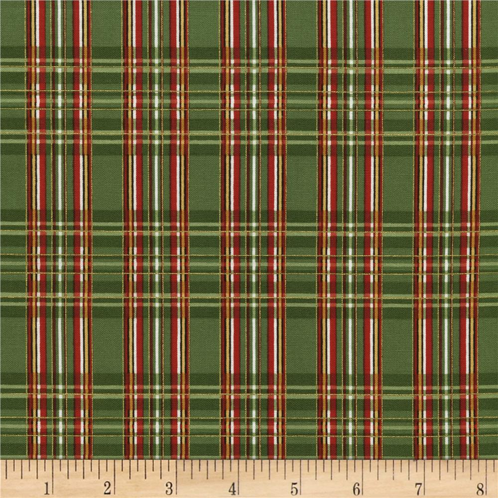 Timeless Treasures Country Christmas Metallic Plaid Green