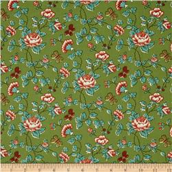 Quilts of Florence Peto Series Rustic Floral Vines & Butterflies Green