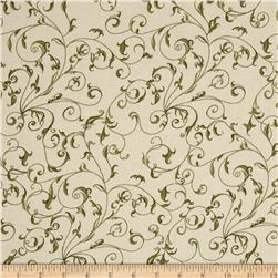 110'' Wide Quilt Back Filigree Cream/Green