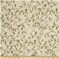 "110"" Wide Quilt Back Filigree Cream/Green"