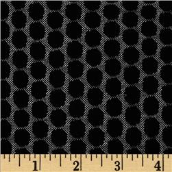 Shadow Jacquard Knit Dots Black/White Fabric