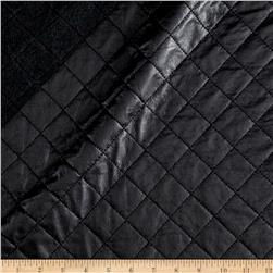 Italian Designer Doube Face Quilted Faux Leather Black