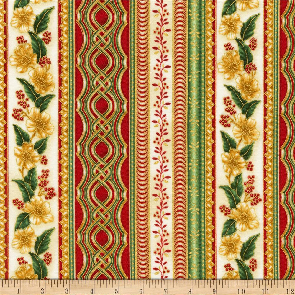 Kaufman Holiday Flourish Metallic Stripe Holiday