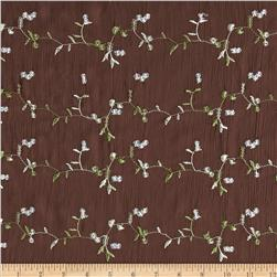 Embroidered Crinkle Chiffon Vines Brown