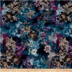 ITY Knit Abstract Floral Blue Purple