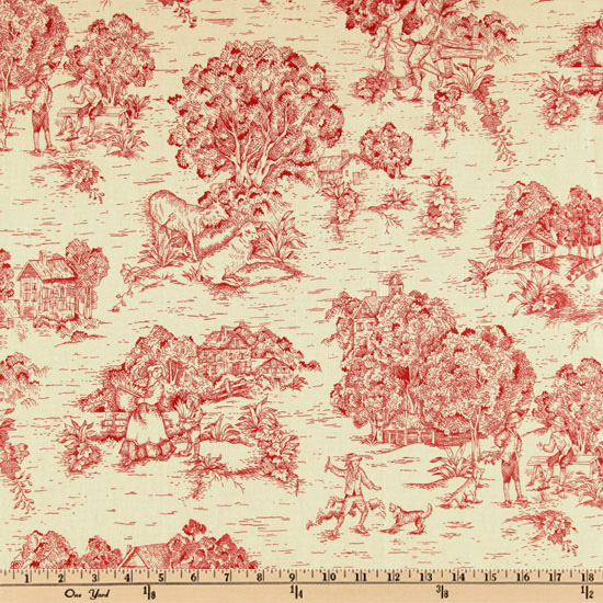 Pastoral Toile Cranberry Red/Cream Fabric