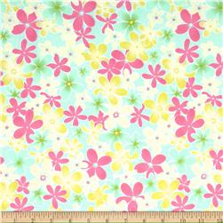 Cotton Poplin Allover Floral Pink/Aqua