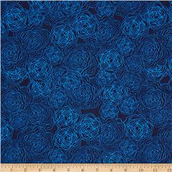 True Blue Floral Etching Navy