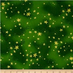 Laurel Burch Enchantment Metallic Stars Dark Green