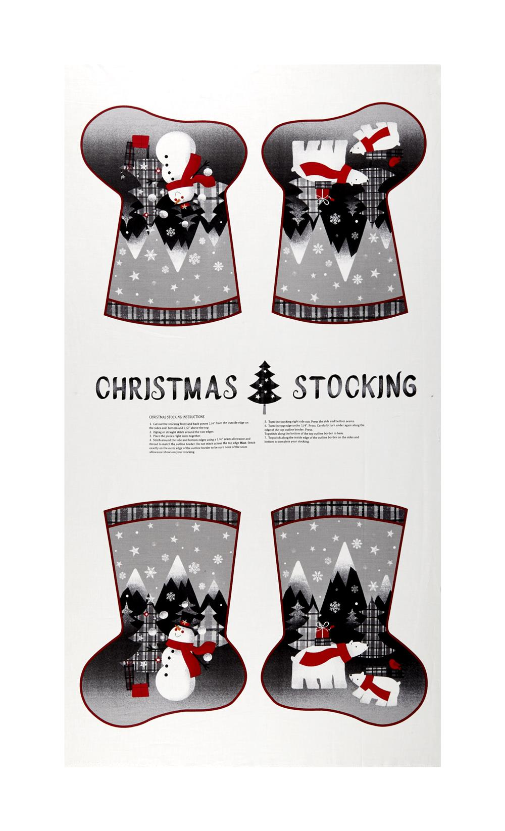 Red + Grey Christmas Stocking 24\