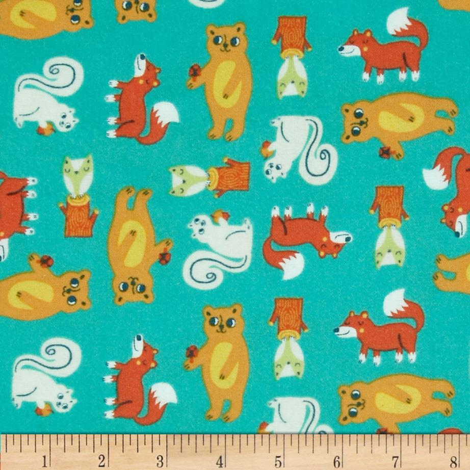 Happy Camper Flannel Critters Turquoise