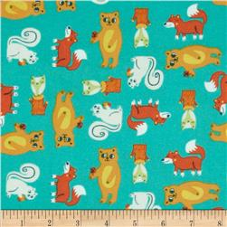 Happy Camper Flannel Critters Turquoise Fabric