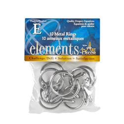 "Elements by Art Decor 1 1/4"" Metal Rings with Eyelets Chrome"