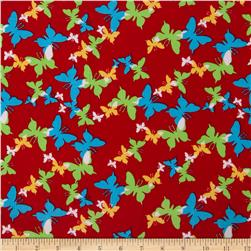21 Wale Corduroy Butterflies Red