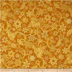 Kaufman Holiday Flourish Metallics Snowflakes Gold