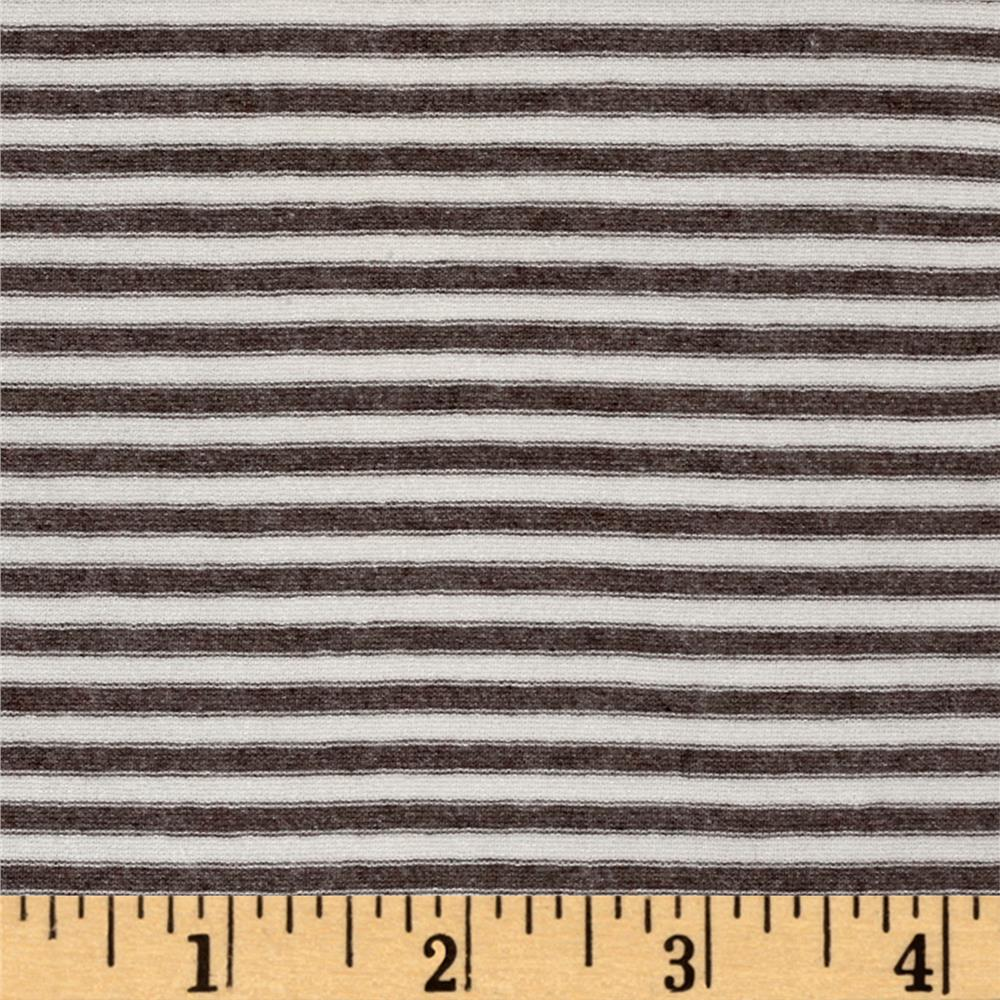 Designer Jersey Knit Stripe Mini Stripe Taupe/White