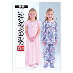 Butterick Children's/Girls' Nightgown, Top and Pants Pattern B4005 Size 0A0