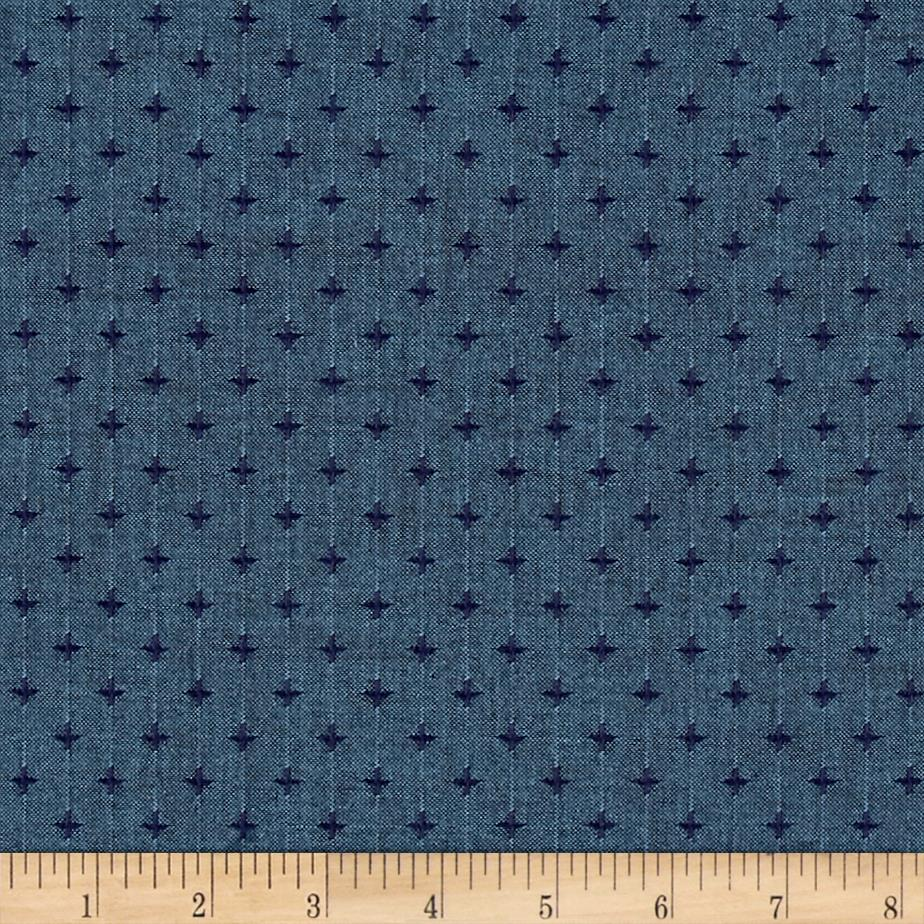 Kaufman Indikon 4.7 Oz Cotton Chambray Pluses Spaced Blue