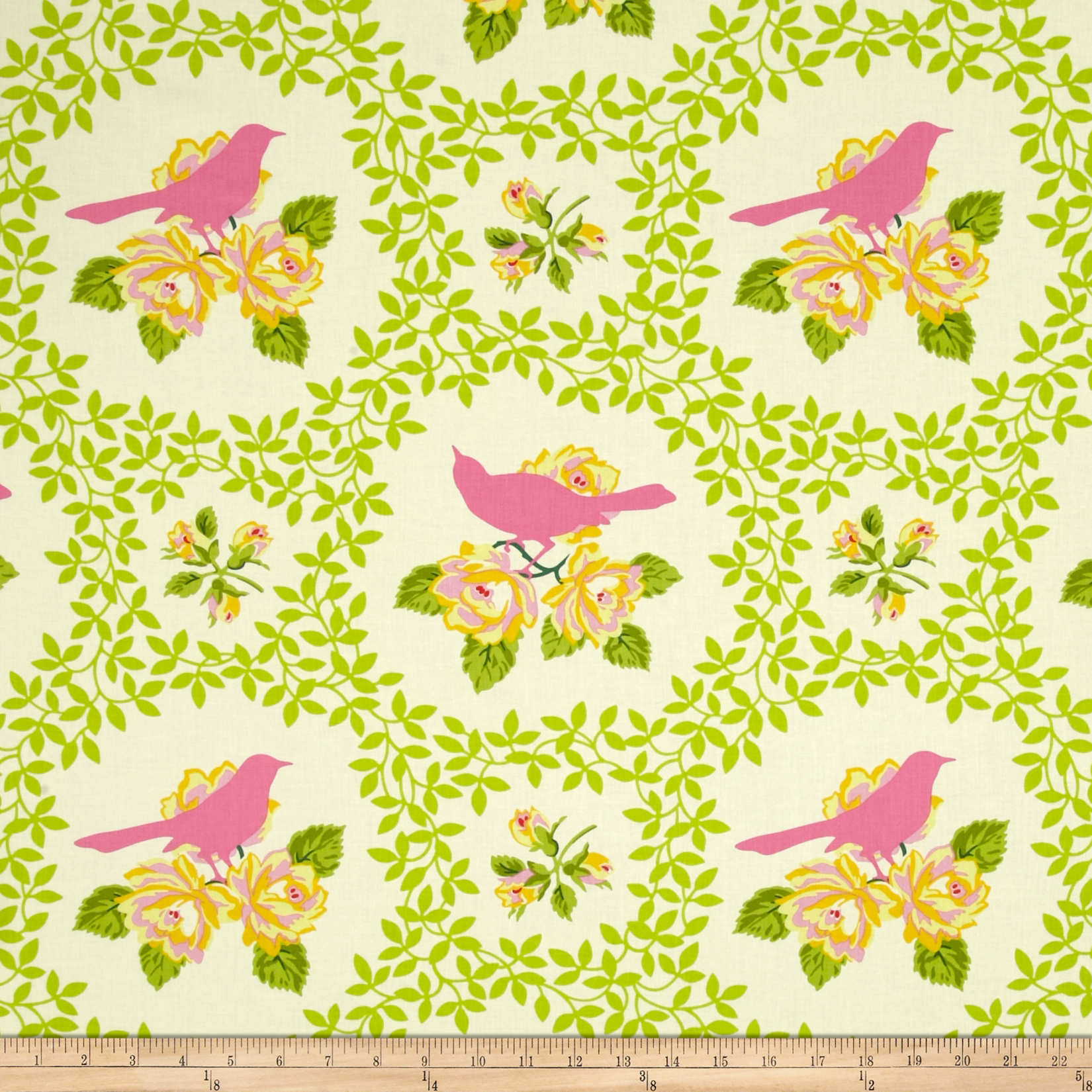 Heather Bailey Up Parasol Mockingbird Pink Fabric