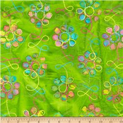 Embroidered Indian Batiks Floral Lime