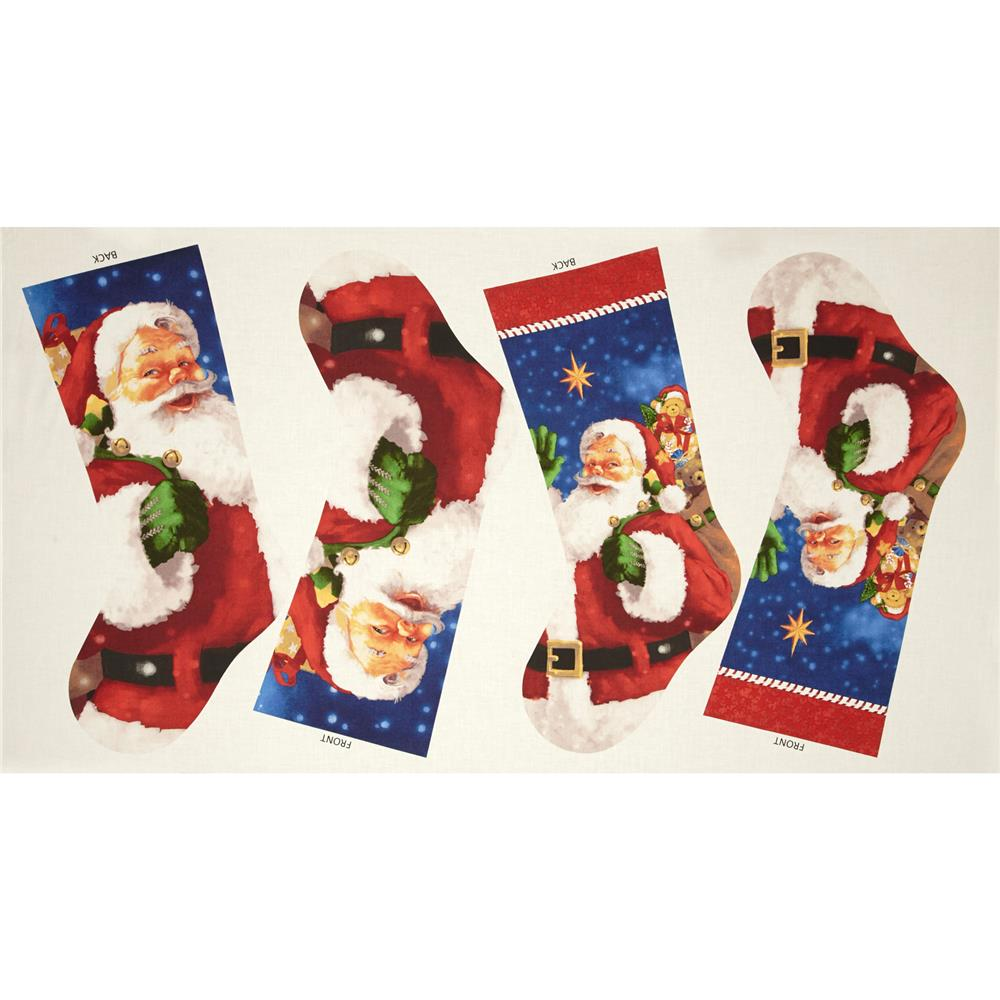 Santa's Surprise 24 In. Stocking Panel Multi