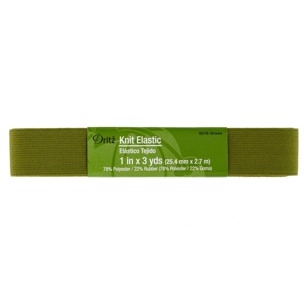 "1"" Dritz Knit Elastic Green"