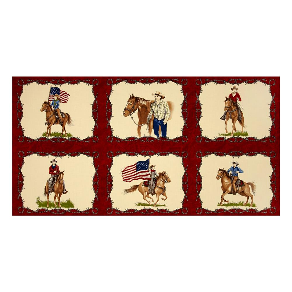 Moda Sundance Trail Cowboy 24 In. Panel Red