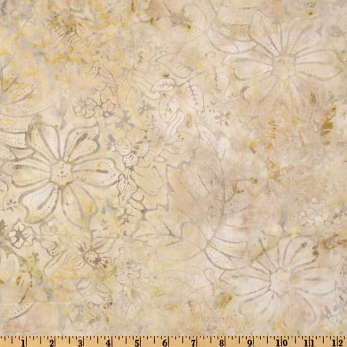 "108"" Wide Tonga Batik Quilt Backing Abstract Floral Foam Cream"