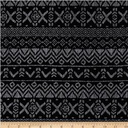 Cotton Lycra Jersey Knit Dashed Aztec Black/Pale Grey