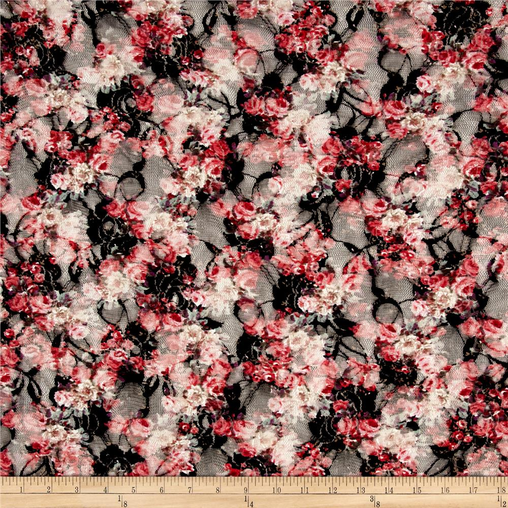 Printed Stretch Lace Floral Black/Coral/Pink/Green/White Fabric