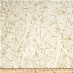 Moda Passport Paris Map China White Fabric