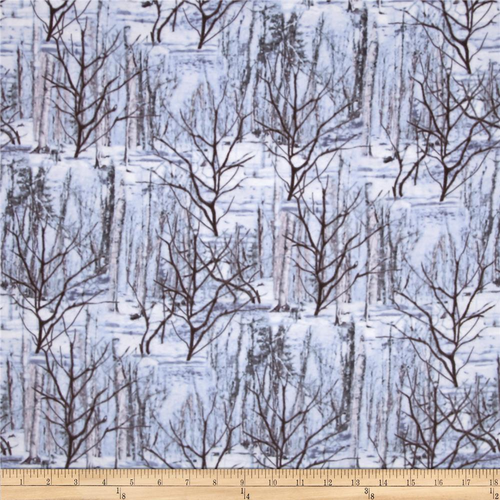 Kanvas The Great North Wilderness Flannel Winter Forest Silver Grey Fabric By The Yard