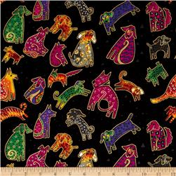 Laurel Burch Dogs & Doggies Metallic Tossed Dogs black Metallic