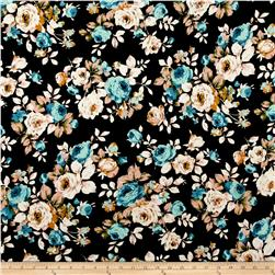 Liverpool Double Knit Tossed Flowers Multi/Black