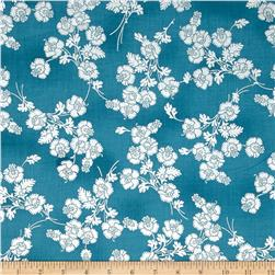 Mary May Metallic Foil Floral Teal/Silver