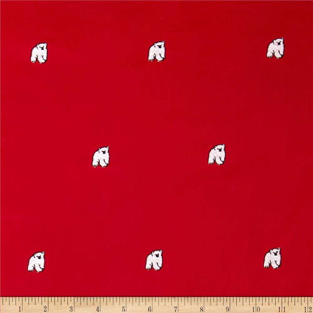 Embroidered 21 Wale Corduroy Polar Bear Red/White